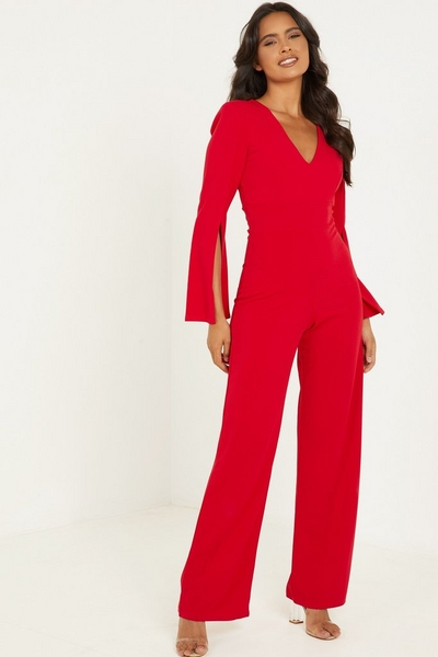 Red V Neck Palazzo Jumpsuit