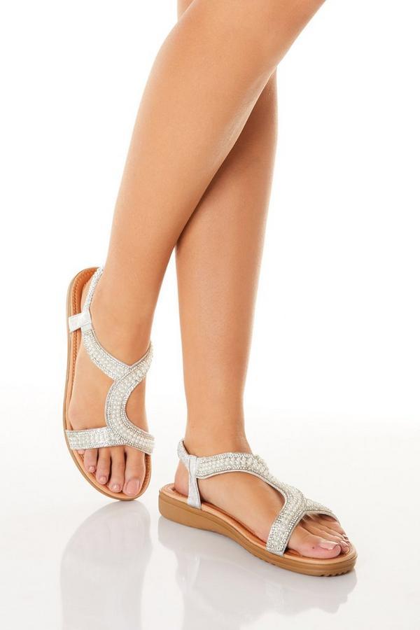 Comfort Silver Pearl Embellished Sandals