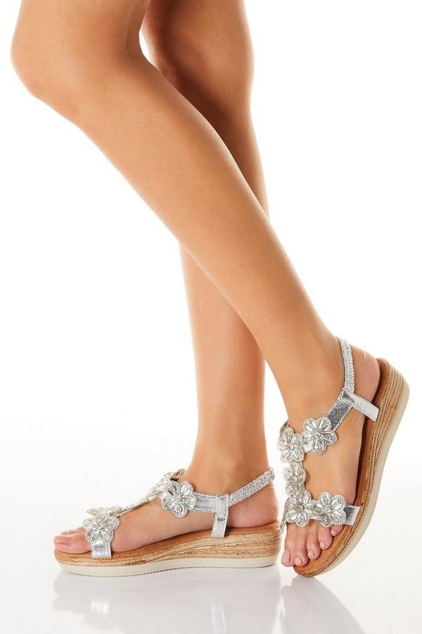 Comfort Silver Flower T-Bar Wedge Sandals