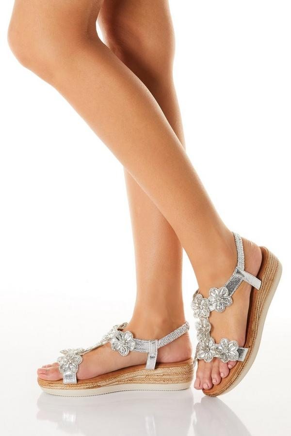 Comfort Silver Flower T-Bar Wedge Sandals