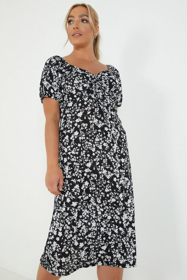 Curve Black Floral Midi Dress