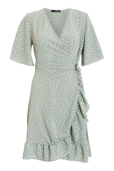 Sage Polka Dot Wrap Dress