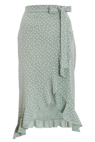 Sage Polka Dot Wrap Skirt