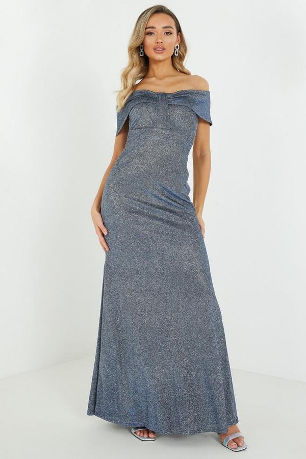 Blue Glitter Bardot Maxi Dress
