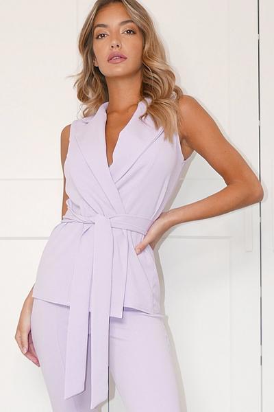 Lilac Sleeveless Wrap Blazer