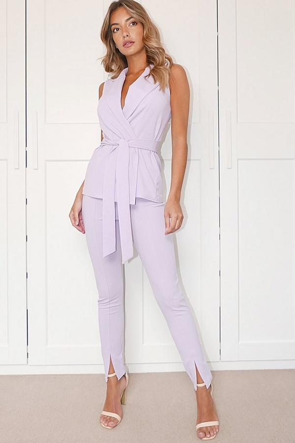 Lilac High Waist Split Tapered Trousers