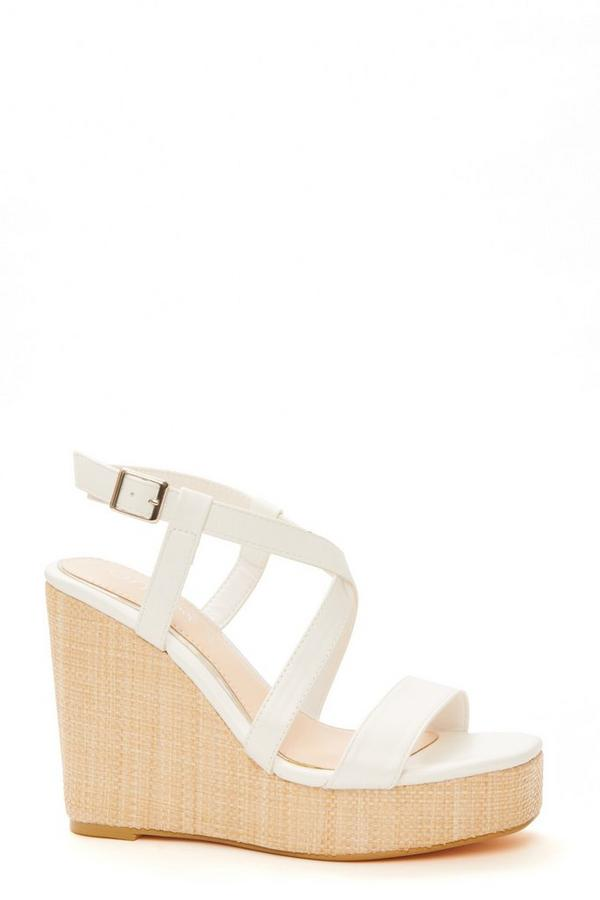 Wide Fit White Faux Leather Wedges