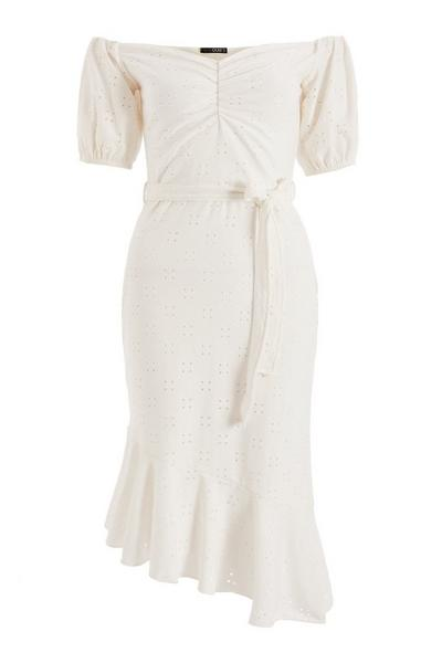 Cream Broderie Bardot Midi Dress