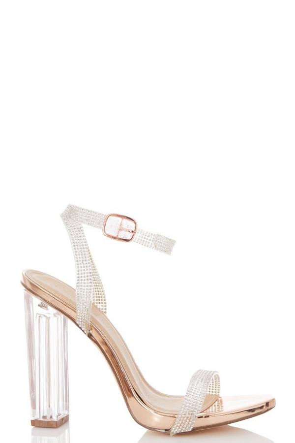 Rose Gold Diamante Clear Heeled Sandals