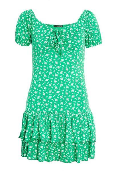 Green & White Floral Print Bardot Dress