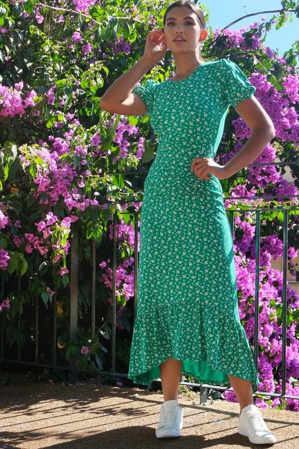 Green & White Floral Print Midaxi Dress