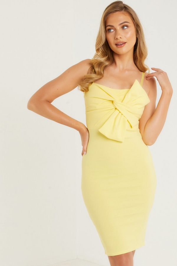 Yellow Bow Front Midi Dress