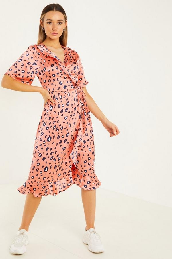 Coral Leopard Print Wrap Midi Dress