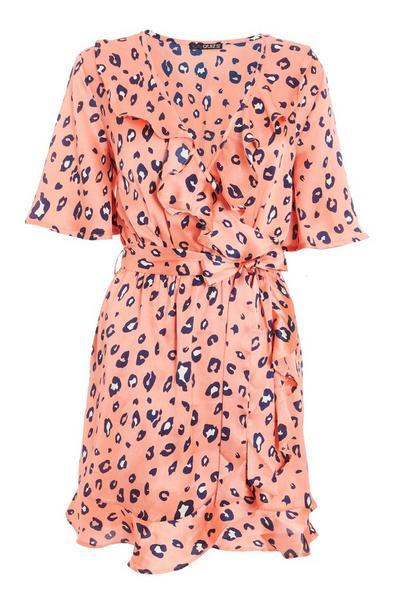 Coral Leopard Print Skater Dress