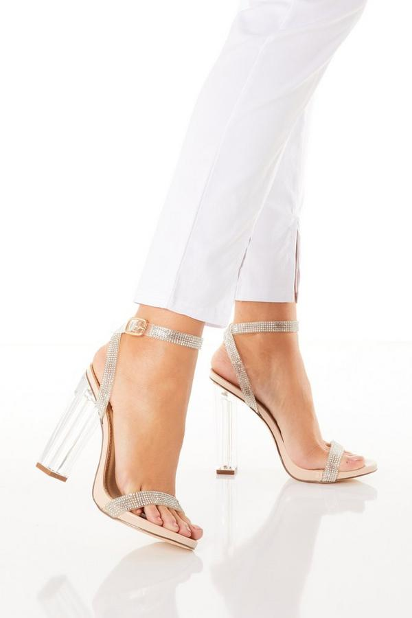 Nude Diamante Clear Heeled Sandals
