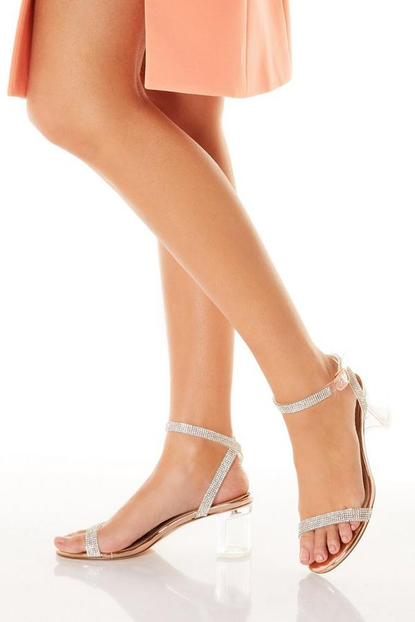 Rose Gold Diamante Clear Low Heeled Sandals