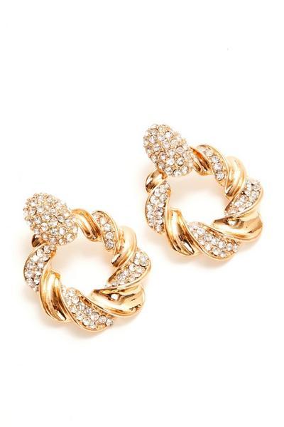 Gold Diamante Twist Circle Earrings