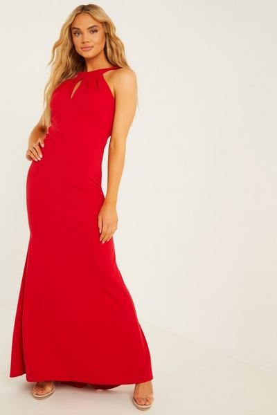 Red Fishtail Maxi Dress
