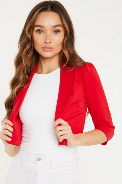 Red Puff Sleeve Cropped Jacket