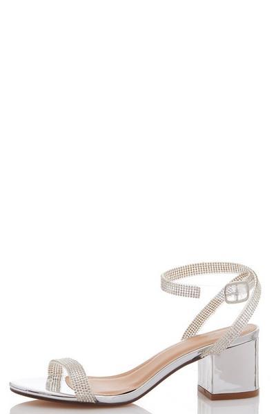 Silver Embellished Low Block Heel Sandals