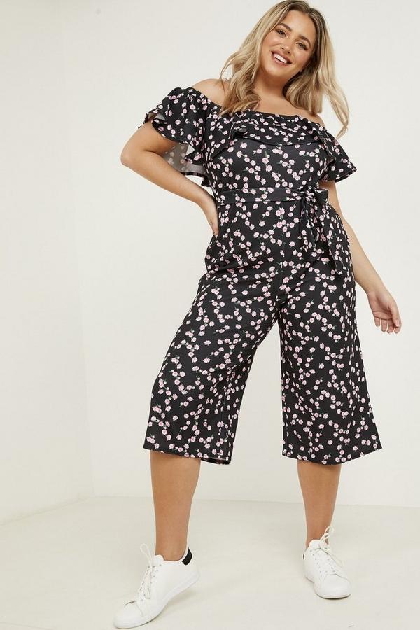 Curve Black Floral Print Bardot Jumpsuit