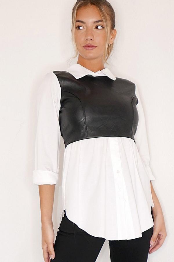 White & Black Faux Leather Shirt