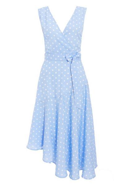 Blue Polka Dot Asymmetrical Midi Dress