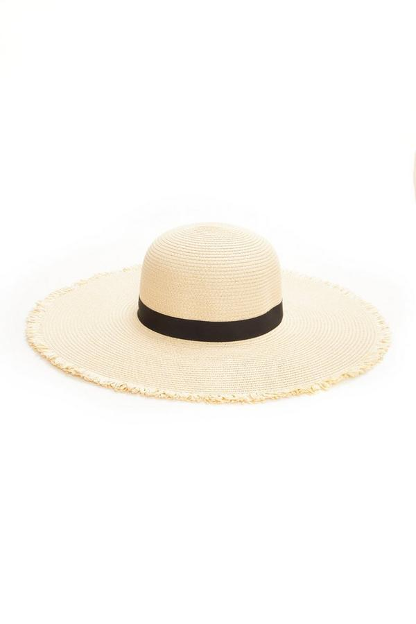 Cream Frayed Straw Hat