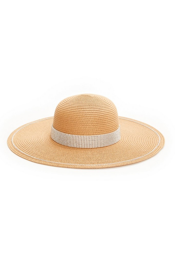 Tan Diamante Straw Hat