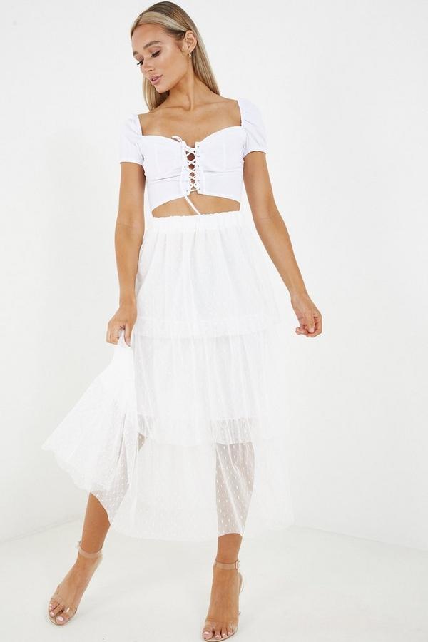 White Tiered Polka Dot Mesh Skirt