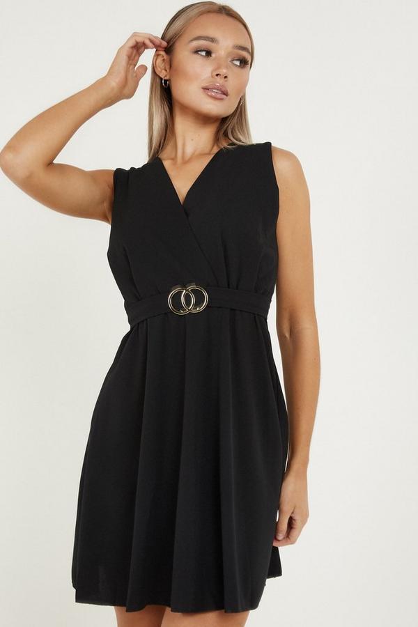 Black V Neck Skater Dress