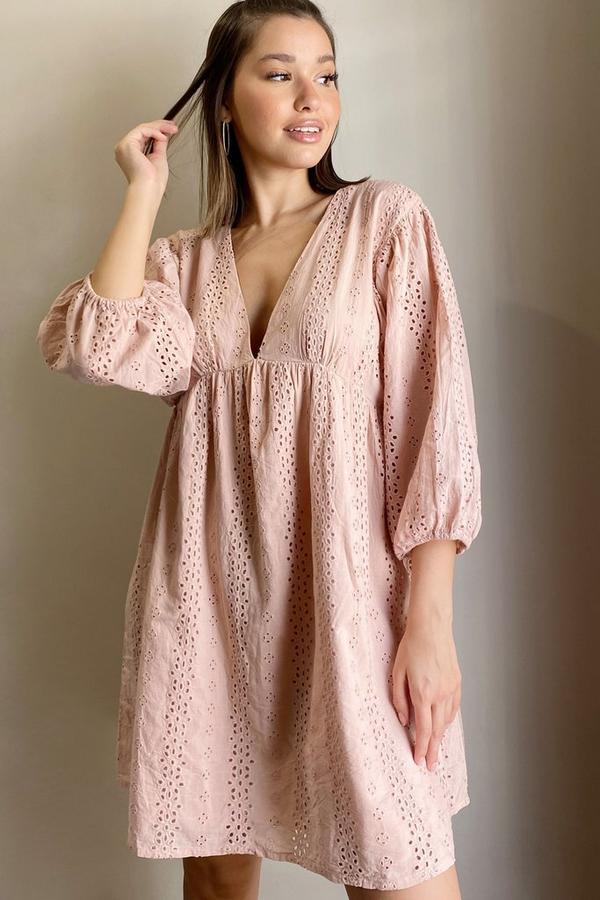 Pink Embroidered Smock Dress