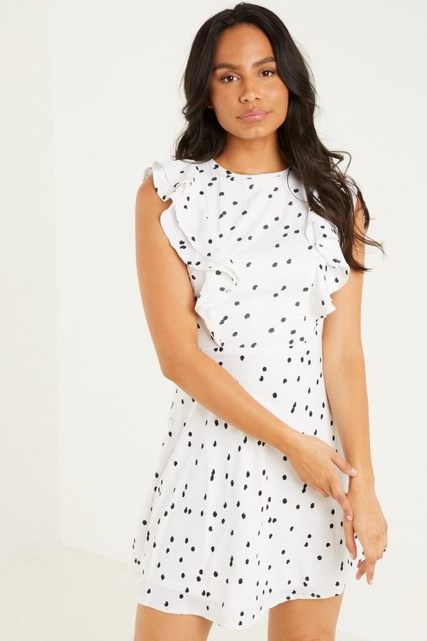Cream Spot Print Skater Dress