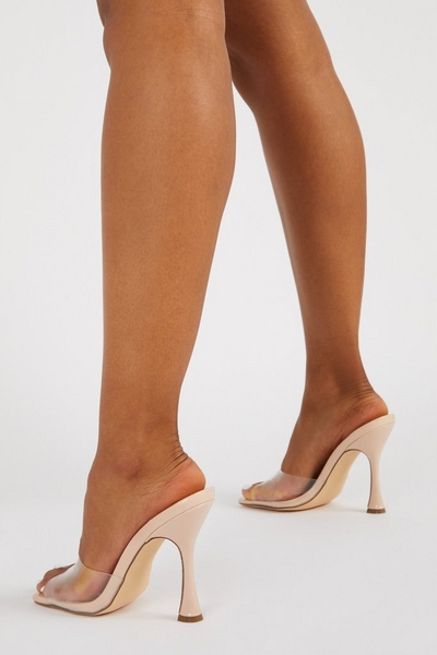 Nude Clear Heeled Mule Sandal