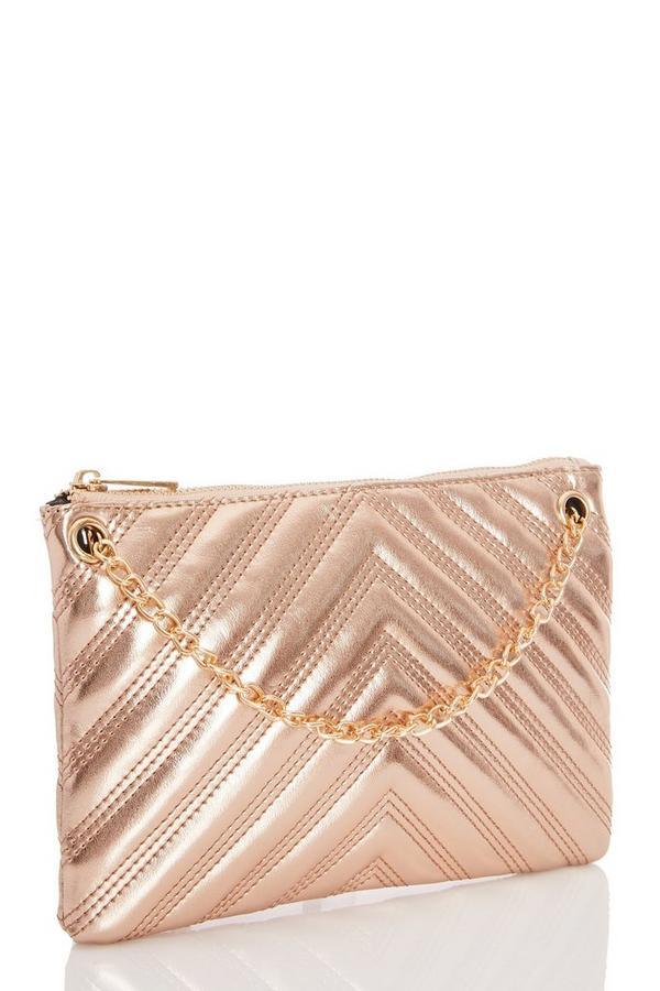 Bronze Metallic Quilted Clutch Bag