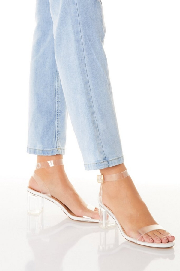 White Clear Low Heeled Sandals