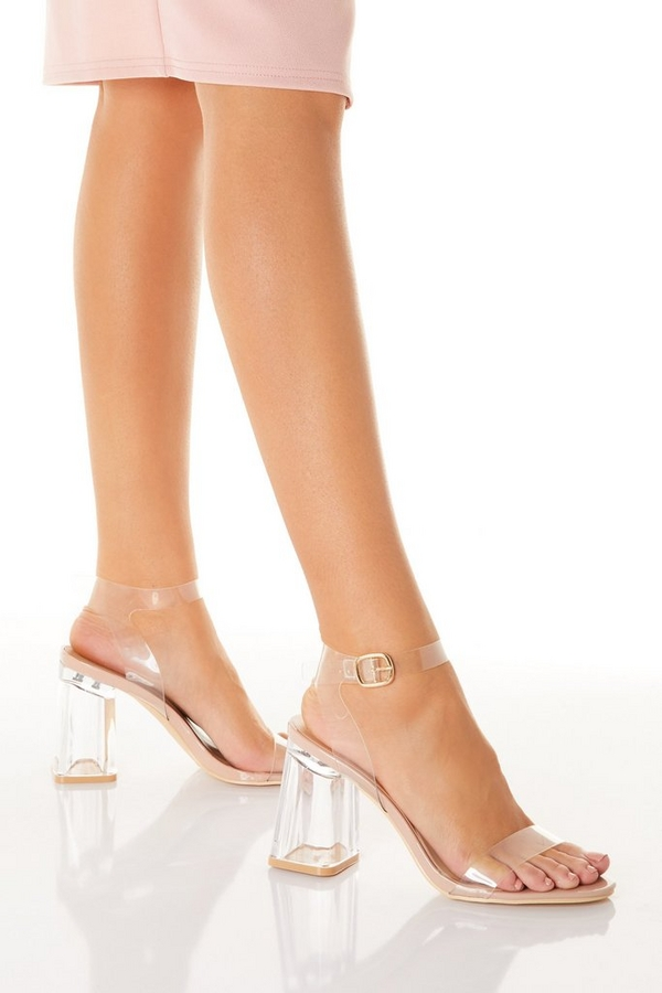 Nude Clear Flare Heeled Sandal