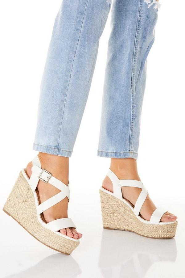 White Faux Leather High Wedges