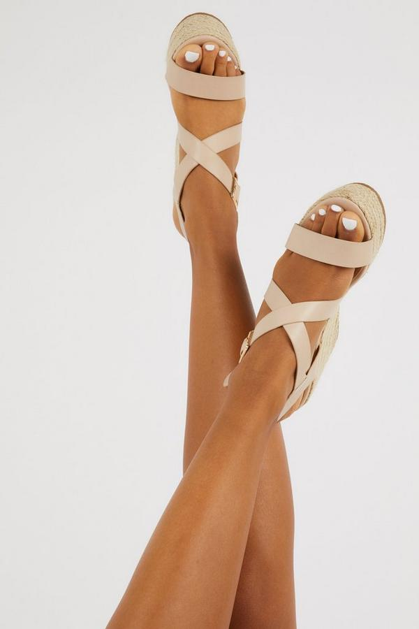 Nude Faux Leather High Wedges