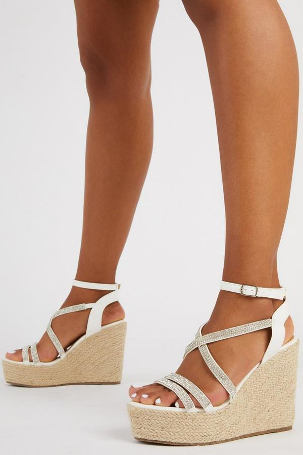 White Diamante High Wedges