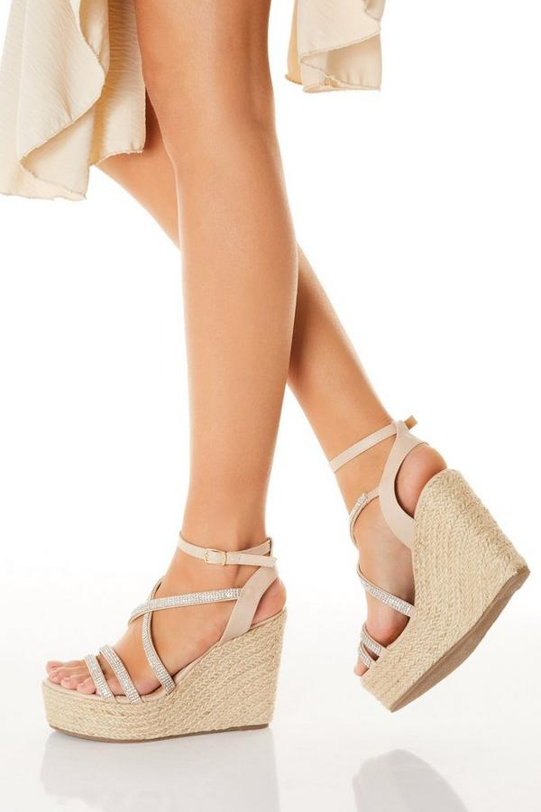 Nude Diamante High Wedges