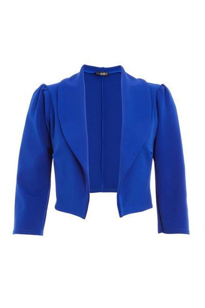 Royal Blue Puff Sleeve Cropped Jacket
