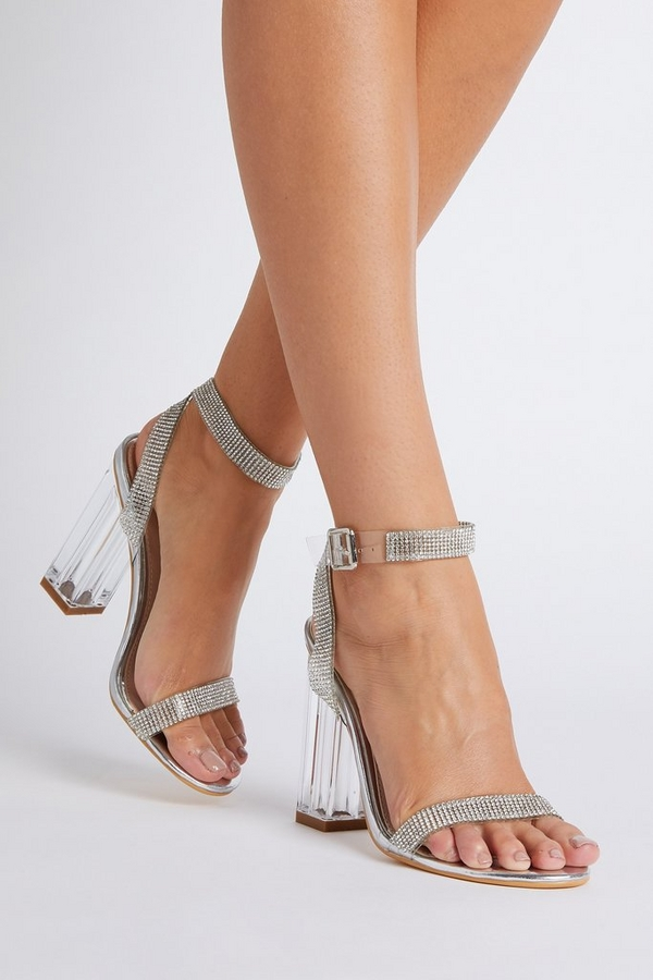 Silver Embellished Clear Block Heel Sandals