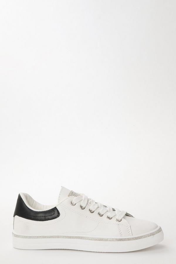 White & Black Embellished Trainers