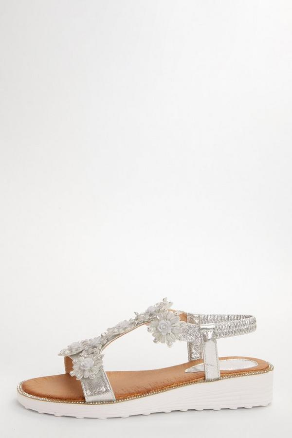 Silver Flower Diamante Flat Sandals