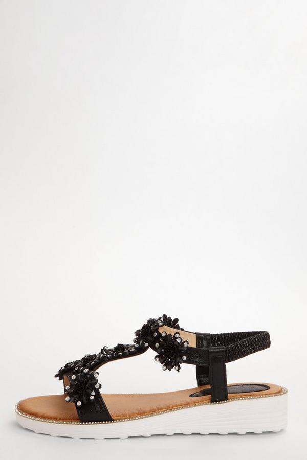 Black Flower Diamante Flat Sandals