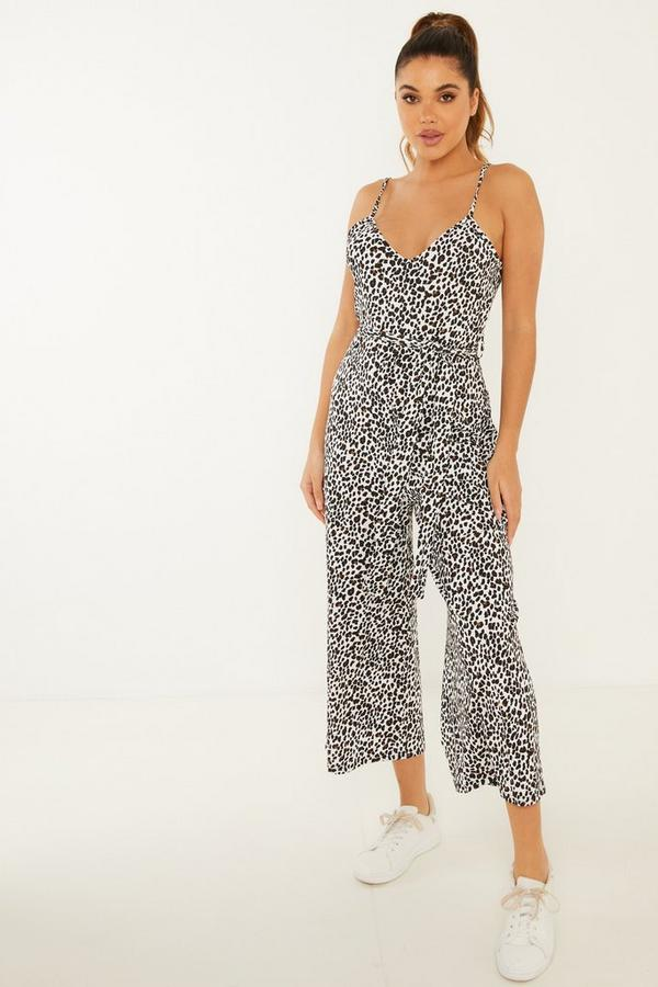 Leopard Print Strappy Culotte Jumpsuit