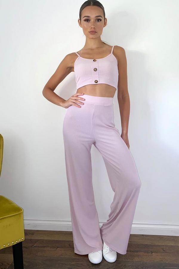 Blush Pink High Waist Palazzo Trousers