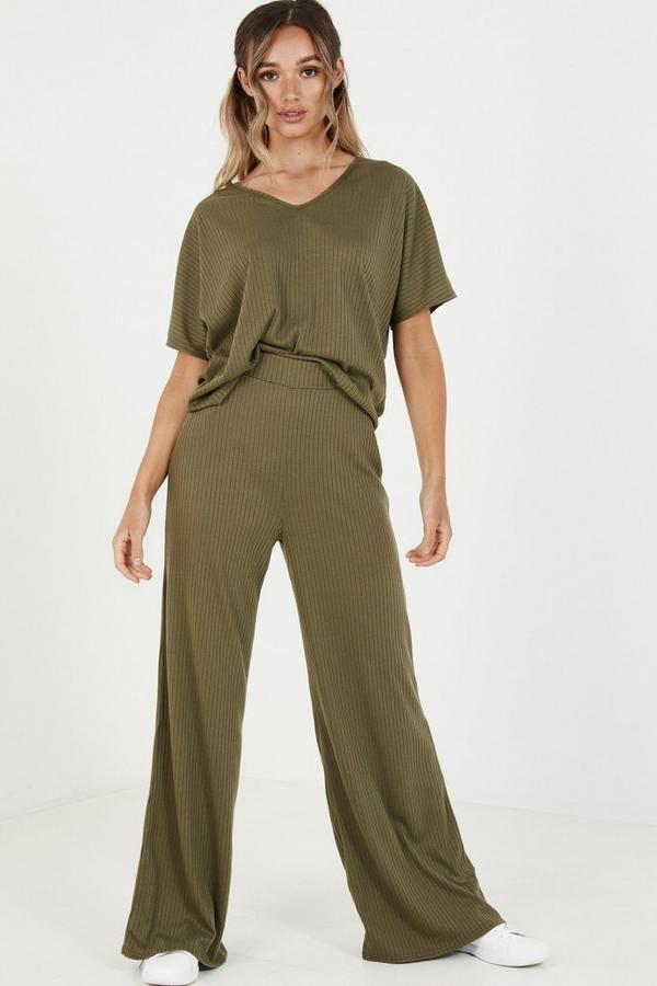 Khaki Ribbed High Waist Trousers