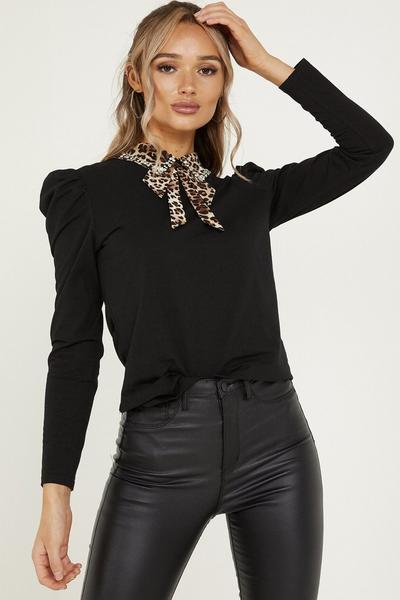 Black Leopard Print Diamante Bow Top